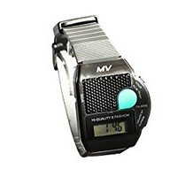 Sprechende Armbanduhr Schwarz mit Wecker und Großem Knopf