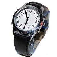 sprechende analoge unisex Armbanduhr, Leder-Armband, Komplettdatum
