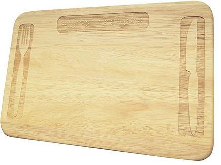 Holz Frühstücksbrett mit Wunsch Braille Gravur